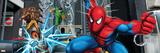 Spider-Man, Kraven the Hunter, Shocker, and Doctor Octopus Fighting in the City Posters