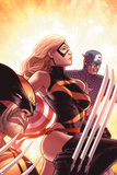 New Avengers No.17 Cover: Ms. Marvel, Captain America and Wolverine Billeder af Mike Deodato