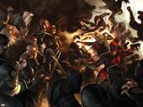 Daredevil No.100 Cover: Daredevil, Elektra, Luke Cage, Iron Fist and Spider-Man Plakater