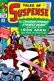 Tales Of Suspense No.52 Cover: Crimson Dynamo, Iron Man and Black Widow Fighting Billeder af Don Heck