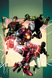 Young Avengers No.3 Cover: Iron Lad, Wiccan, Hulkling and Patriot Poster von Jim Cheung