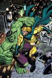 Hulk No.8 Cover: Hulk, Sentry and Ms. Marvel Poster por Arthur Adams