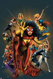 The Official Handbook Of The Marvel Universe: The Women of Marvel 2005 Cover: Spider Woman Charging Kunstdrucke von Greg Land