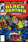 Black Panther No.1 Cover: Black Panther, Little, Abner and Princess Zanda Fighting Plakat av Jack Kirby