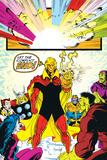 Infinity Gauntlet No.6 Group: Adam Warlock, Thanos, Thor and Hulk Fighting Poster par George Perez