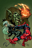 Marvel Knights Spider-Man V3, No.10 Cover: Black Cat, Spider-Man and Green Goblin Crouching Photo by Terry Dodson