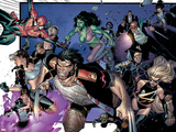 House Of M No.6 Group: Wolverine, She-Hulk, Spider-Man and Warbird Prints by Olivier Coipel