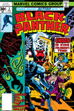 Black Panther No.3 Cover: Black Panther, Princess Zanda, Hatch-22, Little and Abner Charging Poster von Jack Kirby