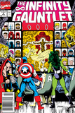 Infinity Gauntlet No.2 Cover: Captain America, Thor and She-Hulk Poster di George Perez