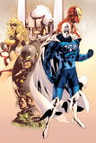 Adam: Legend Of The Blue Marvel No.1 Cover: Blue Marvel, Yellowjacket, Ms. Marvel and Iron Man Prints by Mat Broome