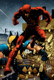 Wolverine No.24 Cover: Daredevil and Wolverine Poster av Greg Land