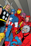 X-Statix No.21 Group: Ant-Man, Captain America, Thor, Iron Man, Scarlet Witch, Hawkeye and Avengers Print by Michael Allred