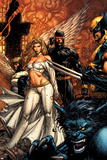 Uncanny X-Men No.494 Cover: Beast, Emma Frost, Cyclops and Wolverine Stampe di David Finch