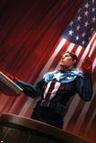 Captain America No.613 Cover: Captain America Standing in Front of the American Flag Affiches par Marko Djurdjevic