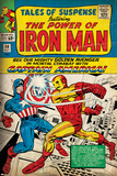 Marvel Comics Retro: The Invincible Iron Man Comic Book Cover No.58, Facing Captain America (aged) Prints
