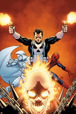 Shadowland No.3 Cover: Ghost Rider, Moon Knight, Spider-Man, and Punisher Posing Prints by John Cassaday