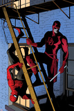 Daredevil No.8 Cover: Daredevil and Spider-Man on the Fire Escape Print by Paolo Rivera