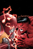 Uncanny X-Men No.11 Cover: Colossus and Red Hulk Fighting Poster af Greg Land