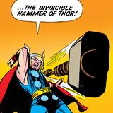 Marvel Comics Retro: Mighty Thor Comic Panel, Throwing Hammer Poster