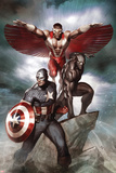 Captain America: Hail Hydra No.3 Cover: Captain America, Black Panther, and Falcon Prints by Adi Granov