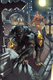 Black Panther: The Man Without Fear No.513 Cover: Black Panther and Daredevil Crouching Posters af Simone Bianchi