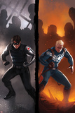 Captain America No.619 Cover: Winter Soldier and Steve Rogers Standing Ready Posters par Marko Djurdjevic