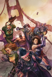 X-Men Legacy No.242 Cover: Cyclops, Colossus, Rogue, Magneto and Others on the Golden Gate Bridge Plakat av Leinil Francis Yu
