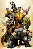 Astonishing X-Men No.38 Cover: Storm, Beast, Colossus, Kitty Pryde, Lockheed, & Agent Abigail Brand Posters av Salvador Larroca