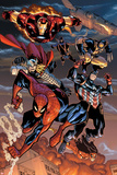 The Amazing Spider-Man No.648: Spider-Man, Captain America, Thor, Iron Man, Wolverine, and Hawkeye Prints by Humberto Ramos