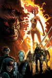 Age of Apocalypse No.1 Cover: Phoenix Standing and Flaming, with Wolverine and Others Bilder av Humberto Ramos