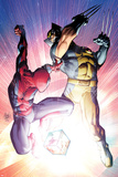 Astonishing Spider-Man & Wolverine No.3 Cover: Spider-Man and Wolverine Fighting Posters by Adam Kubert