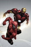 Carnage No.1 Cover: Spider-Man and Iron Man Flying Posters av Clayton Henry