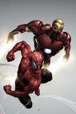 Carnage No.1 Cover: Spider-Man and Iron Man Flying Kunstdruck von Clayton Henry