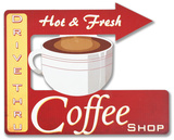 Retro Hot Coffee Ad Sign Wood Sign
