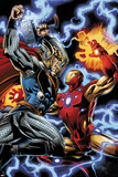 Iron Man/Thor No.3: Thor and Iron Man Fighting Print by Scot Eaton