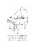 Piano Sketch Stretched Canvas Print by Ethan Harper