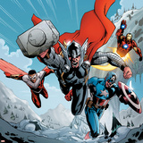 Avengers Assemble Panel Featuring Thor, Falcon, Captain America, Iron Man Prints