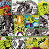 Marvel Comics Retro Pattern Design Featuring Hulk Posters