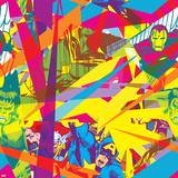 Marvel Comics Retro Pattern Design Featuring Vision, Iron Man, Hulk, Thor, Captain America Prints