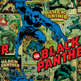 Marvel Comics Retro Pattern Design Featuring Black Panther Poster