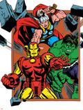Marvel Comics Retro Badge Featuring Thor, Hulk, Iron Man Print