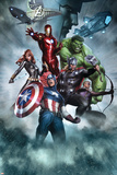 Avengers Assemble Artwork with Thor, Hulk, Iron Man, Captain America, Hawkeye, Black Widow, Loki アートポスター