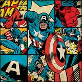 Marvel Comics Retro Badge Featuring Captain America Print