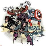 Marvel Comics Retro Badge Featuring Falcon, Captain America, Black Widow, Hawkeye Poster