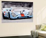 Porsche 917 Gulf Watercolor Wall Mural