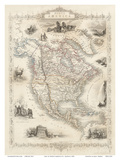 Map of North America - Central America from Greenland to Panama Posters by J. Rapkin