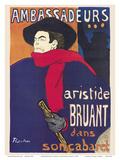 Ambassadeurs: Aristide Bruant dans son Cabaret (Ambassadors: Aristide Bruant in his Cabaret) Pósters por Henri Toulouse-Lautrec