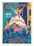 Panama Carnaval de (Carnival of) Feb 22-25, 1936 - Viva La Reina (Hail to the Queen) Kunstdrucke