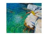 Detail of Jumping into the Sea, Plates, Skiathos, 2015 Giclée-tryk af Andrew Macara