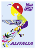Sud America (South America) - Alitalia Italian Air Company Art